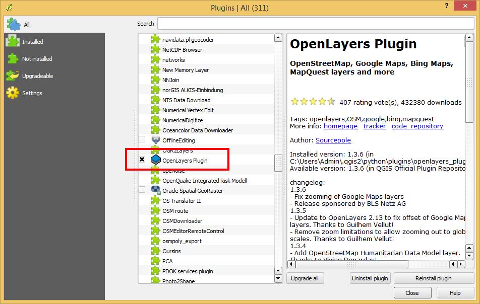 การติดตั้ง (OpenLayers Plugin) Google Satellite บน QGIS – CoP PSU IT