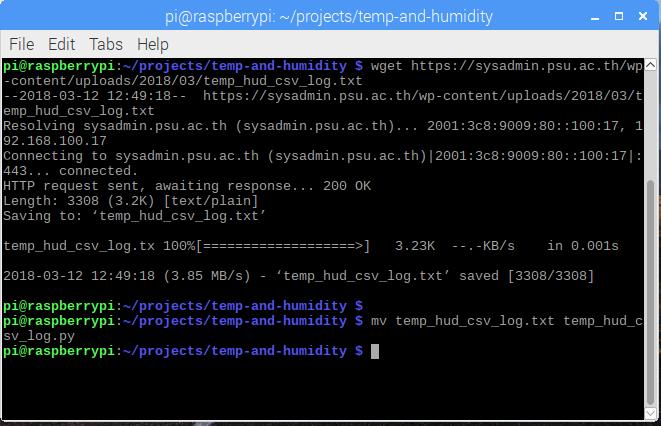 Raspberry Pi 3 [Temperature & Humidity Data Chart] – CoP PSU